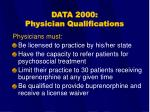 data 2000 physician qualifications
