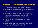module i goals for the module