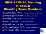nida samhsa blending initiative blending team members