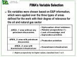 fima s variable selection