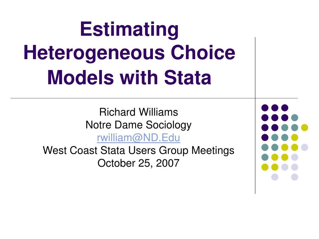 estimating heterogeneous choice models with stata l.