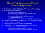 phase 1trial assessment of target effects requirements