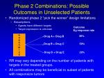 phase 2 combinations possible outcomes in unselected patients