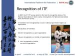recognition of itf