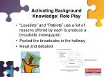 activating background knowledge role play