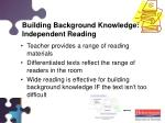 building background knowledge independent reading