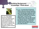 building background knowledge think aloud