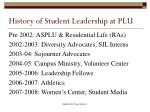history of student leadership at plu