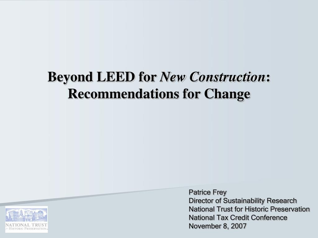beyond leed for new construction recommendations for change l.
