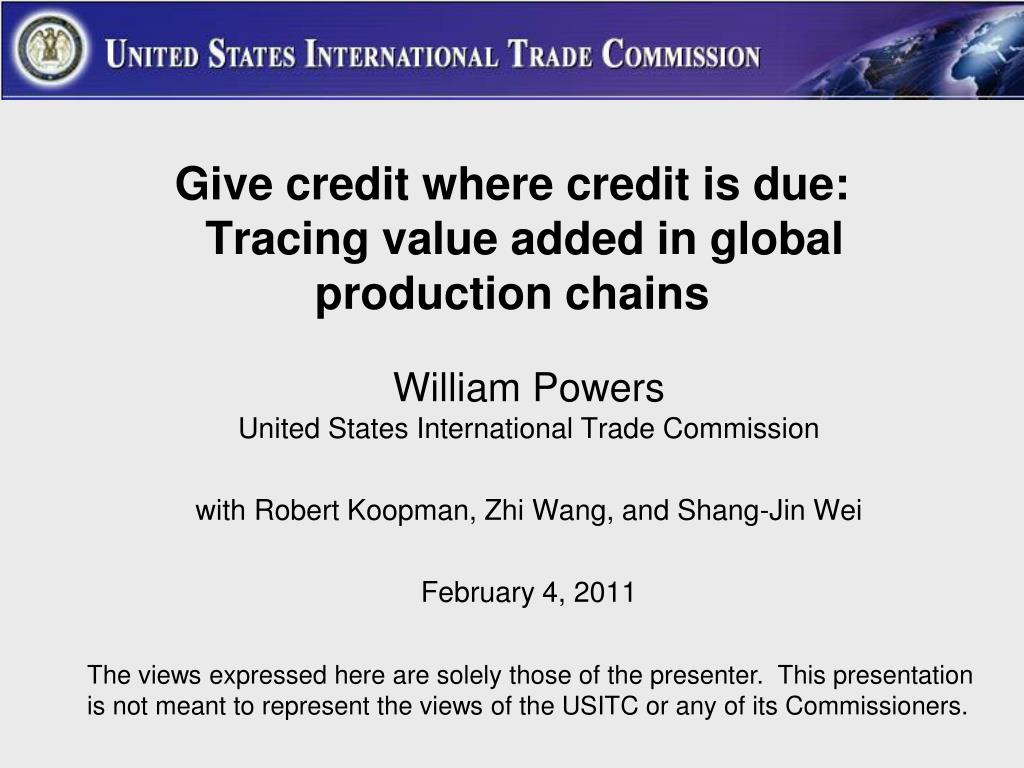 give credit where credit is due tracing value added in global production chains l.