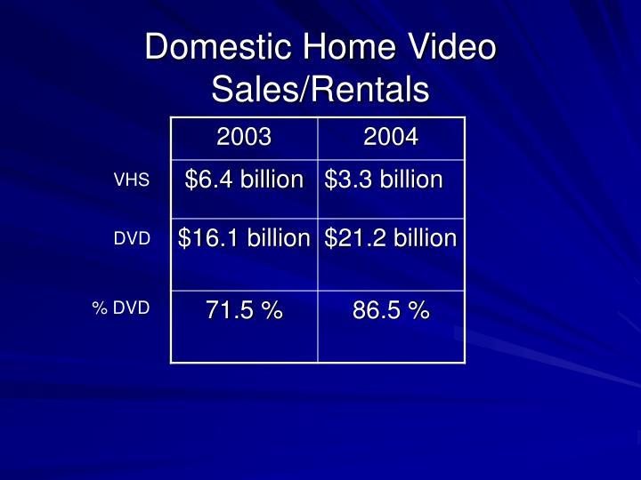 Domestic home video sales rentals