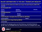 major contributors to the ishlt transplant registry