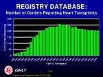 registry database number of centers reporting heart transplants