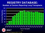 registry database number of centers reporting lung transplants