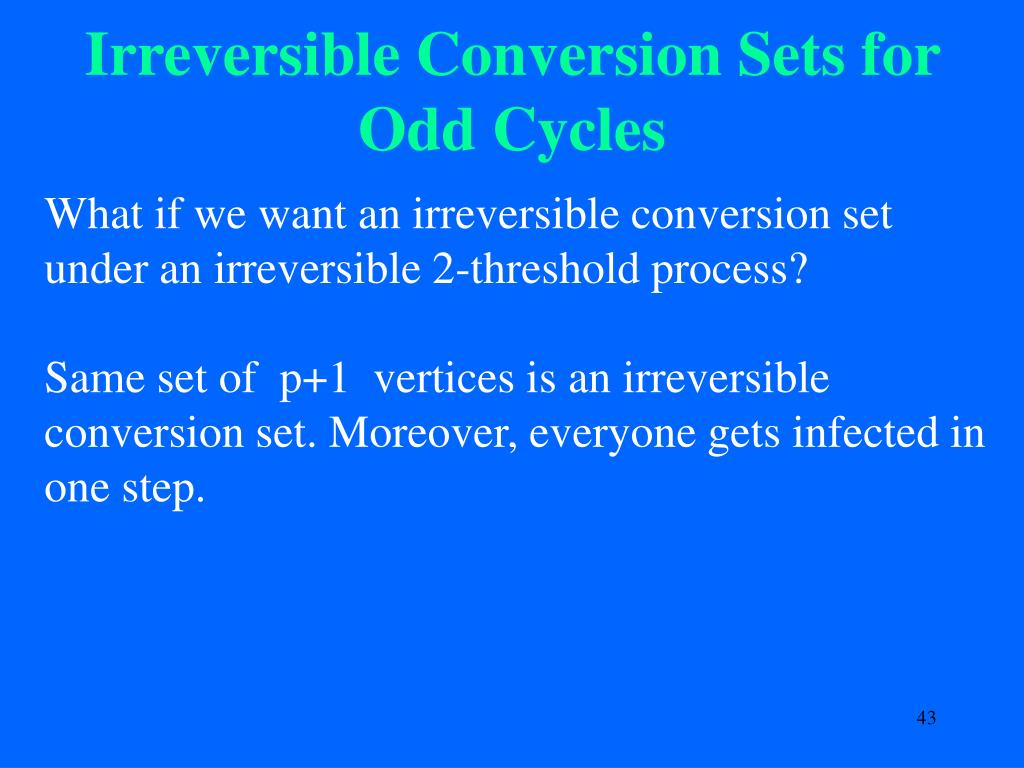 Irreversible Conversion Sets for Odd Cycles