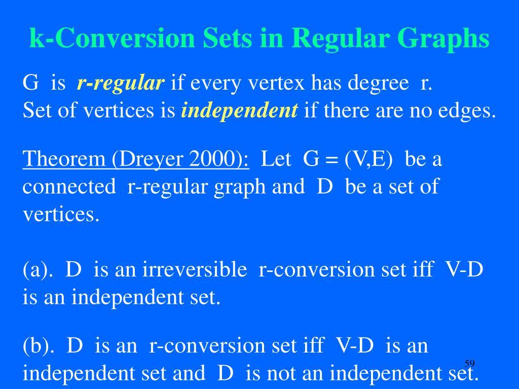 k-Conversion Sets in Regular Graphs