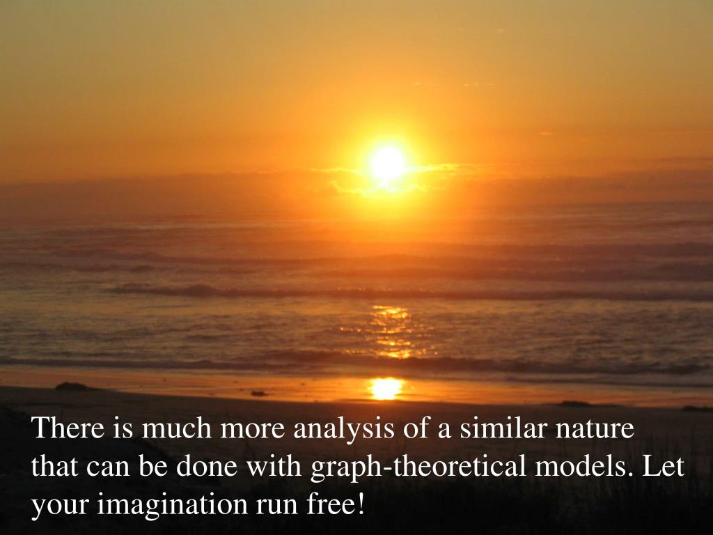 There is much more analysis of a similar nature that can be done with graph-theoretical models. Let your imagination run free!