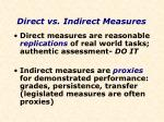 direct vs indirect measures