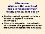 discussion what are the results of mis alignment between faculty and student goals