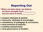 reporting out