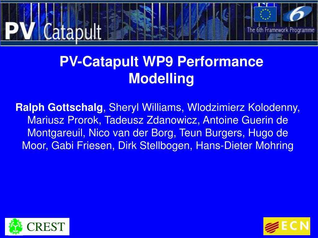 pv catapult wp9 performance modelling l.