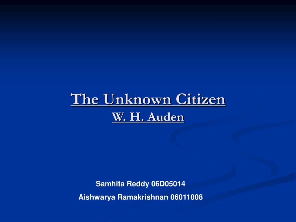 the unknown citizen essay