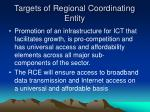 targets of regional coordinating entity