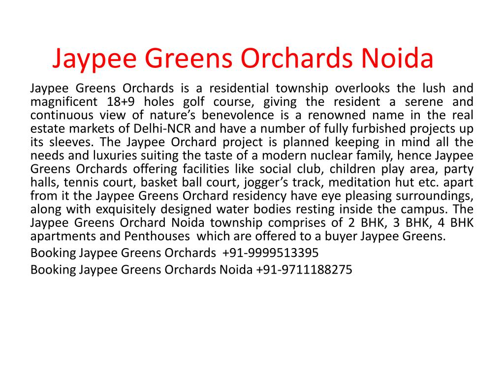 jaypee greens orchards noida l.