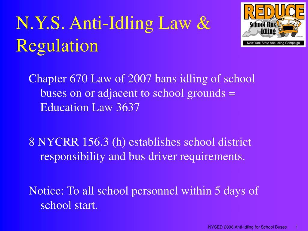 n y s anti idling law regulation l.