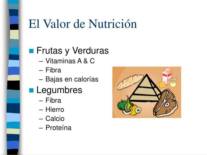 El valor de nutrici n