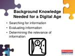 background knowledge needed for a digital age