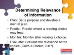 determining relevance of information