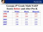 georgia 4 th grade math naep scores before and after pre k