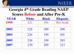 georgia 4 th grade reading naep scores before and after pre k