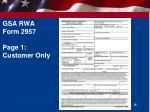 gsa rwa form 2957 page 1 customer only
