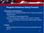 program initiatives going forward