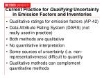 current practice for qualifying uncertainty in emission factors and inventories