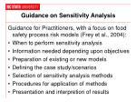 guidance on sensitivity analysis