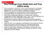 key findings from abdel aziz and frey 2004 study