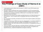 key findings of case study of hanna et al 2001