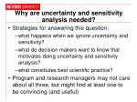 why are uncertainty and sensitivity analysis needed