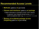 recommended access levels27