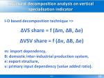 structural decomposition analysis on vertical specialisation indicator