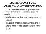 legislazione sugli obiettivi di apprendimento