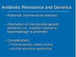 antibiotic resistance and genetics