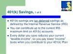 401 k savings 1 of 5