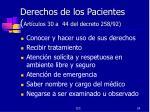 derechos de los pacientes art culos 30 a 44 del decreto 258 92
