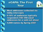 ecapa the first year
