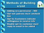 methods of building a list
