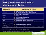 antihypertensive medications mechanism of action